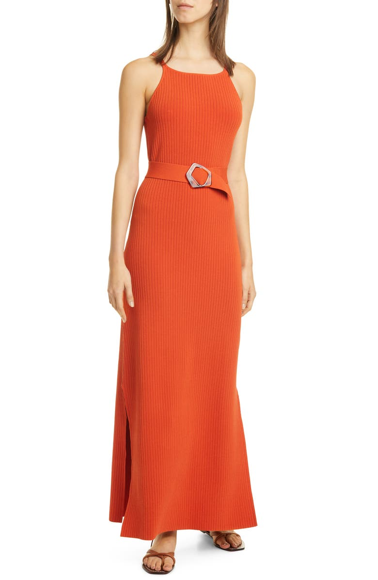 NICHOLAS Lily Ribbed Belted Maxi Dress, Main, color, RUST