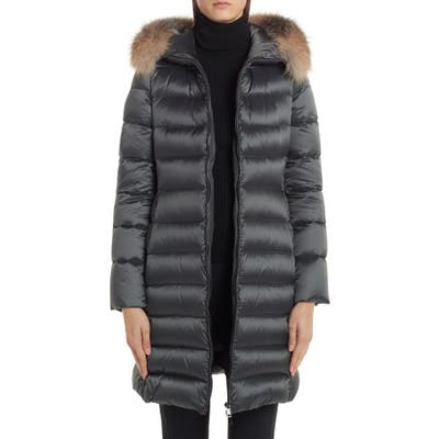 Moncler Tinuv Belted Satin Down Coat With Detachable Genuine Fox Fur Hood Trim, (fits like 10-12 US) - Grey