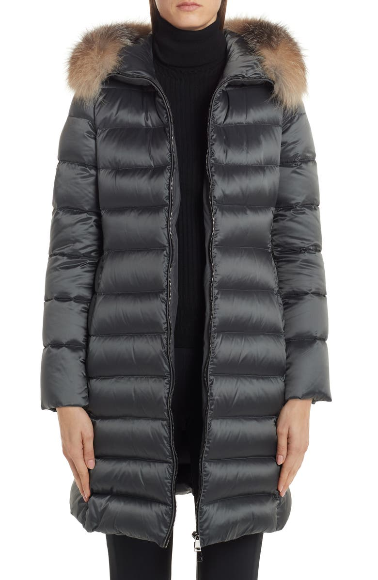 MONCLER Tinuv Belted Satin Down Coat with Detachable Genuine Fox Fur Hood Trim, Main, color, GREY