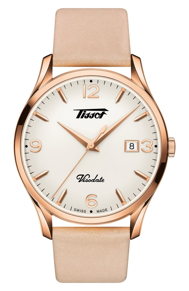 TISSOT Heritage Visodate Leather Strap Watch, 40mm, Main, color, PINK/ WHITE/ ROSE GOLD