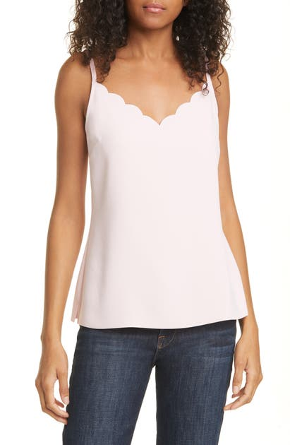 Ted Baker Siina Scallop Neckline Camisole In Dusky-pink