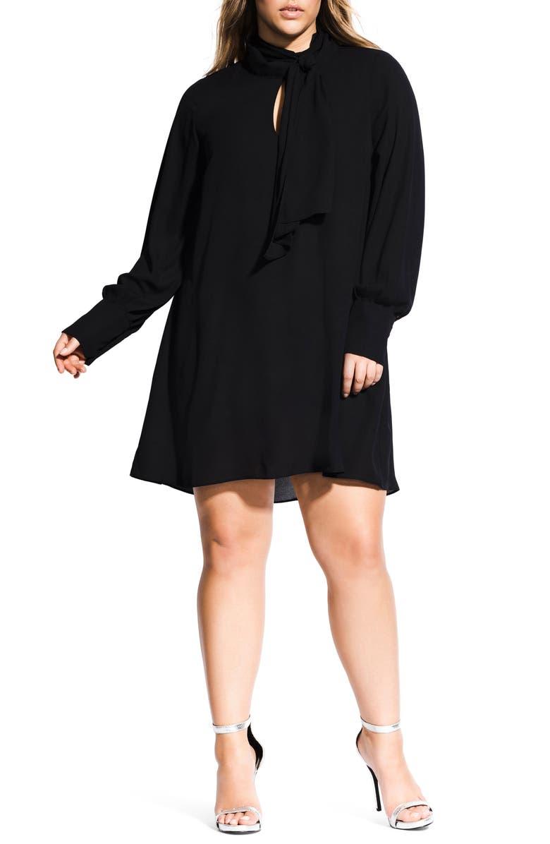 CITY CHIC Tie Neck Tunic Dress, Main, color, 001