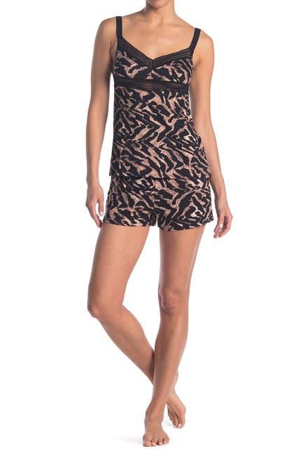 Image of Vince Camuto Textured Tiger Print Cami & Shorts Pajama Set