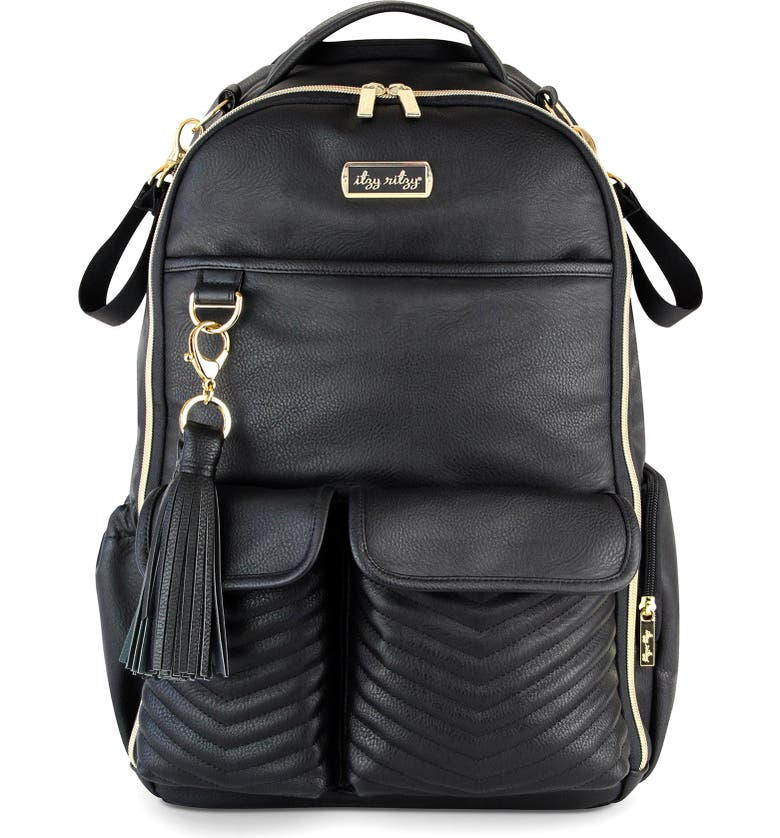 ITZY RITZY Boss Faux Leather Diaper Bag, Main, color, 001