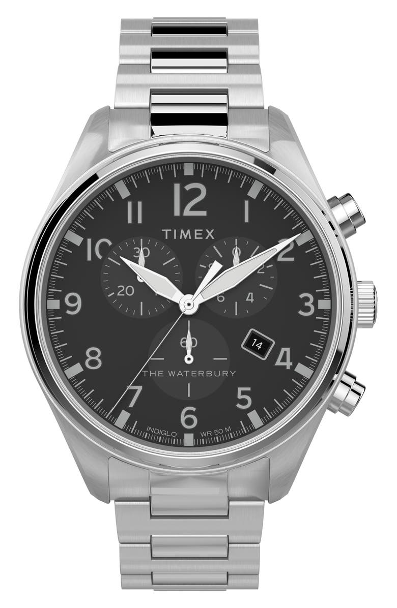 TIMEX<SUP>®</SUP> Waterbury Traditional Chronograph Bracelet Watch, 42mm, Main, color, SILVER/ BLACK/ SILVER