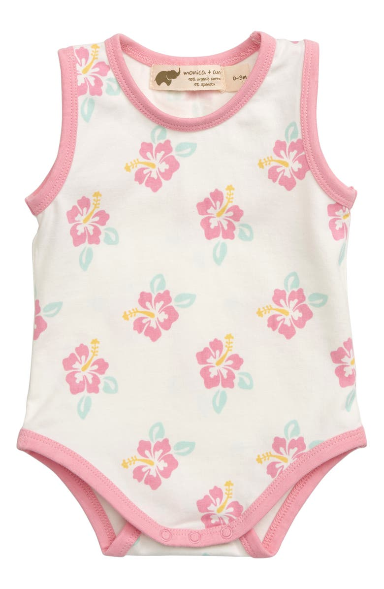 MONICA + ANDY Come Sail Away Print Stretch Organic Cotton Bodysuit, Main, color, PINK