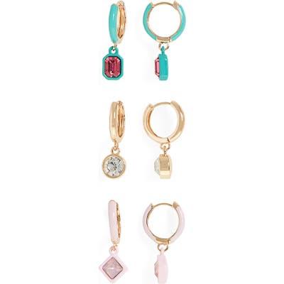 Bp. Set Of 3 Huggie Hoop Drop Earrings