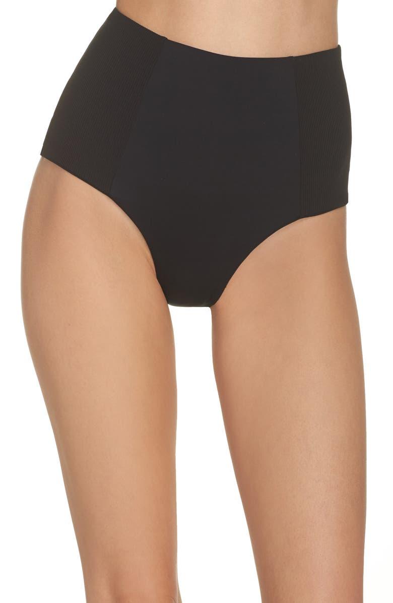 L SPACE Jackie High Waist Bikini Bottoms, Main, color, BLACK