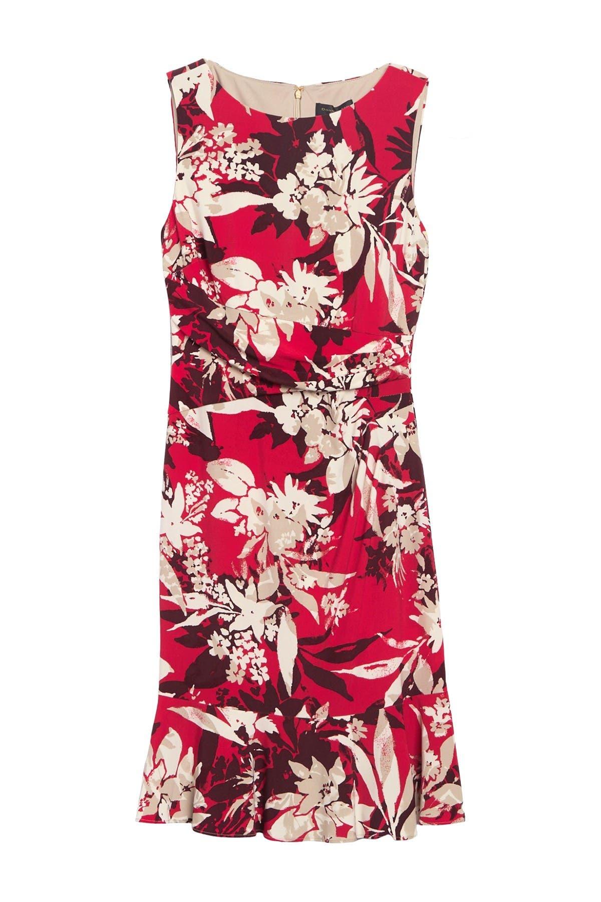 Image of DKNY Patterned Boatneck Sheath Dress