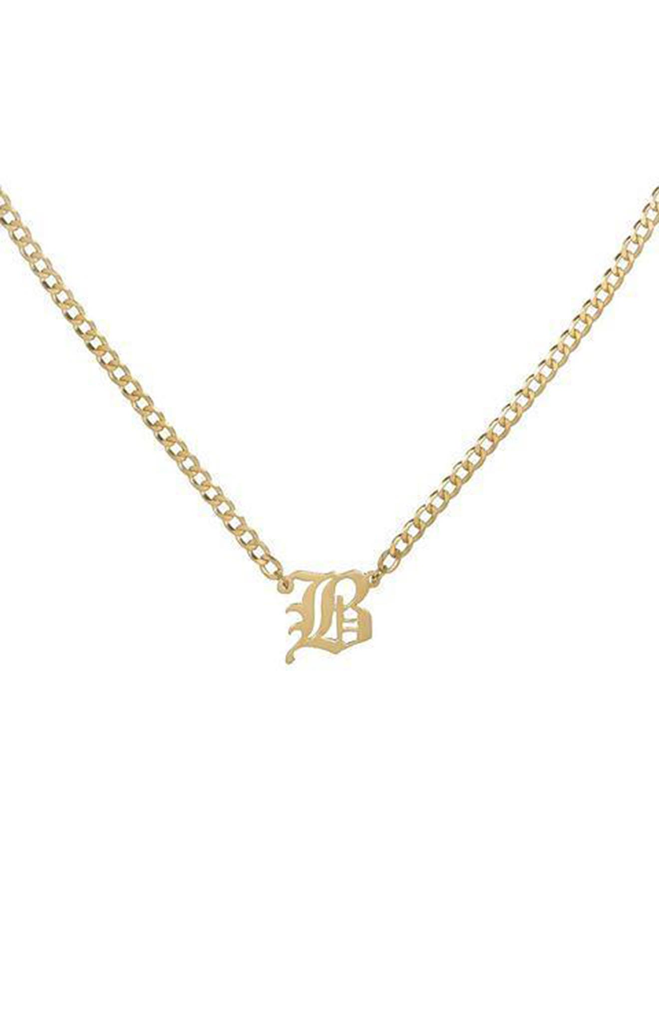 Women's Adina's Jewels Personalized Old English Initial Cuban Chain Necklace