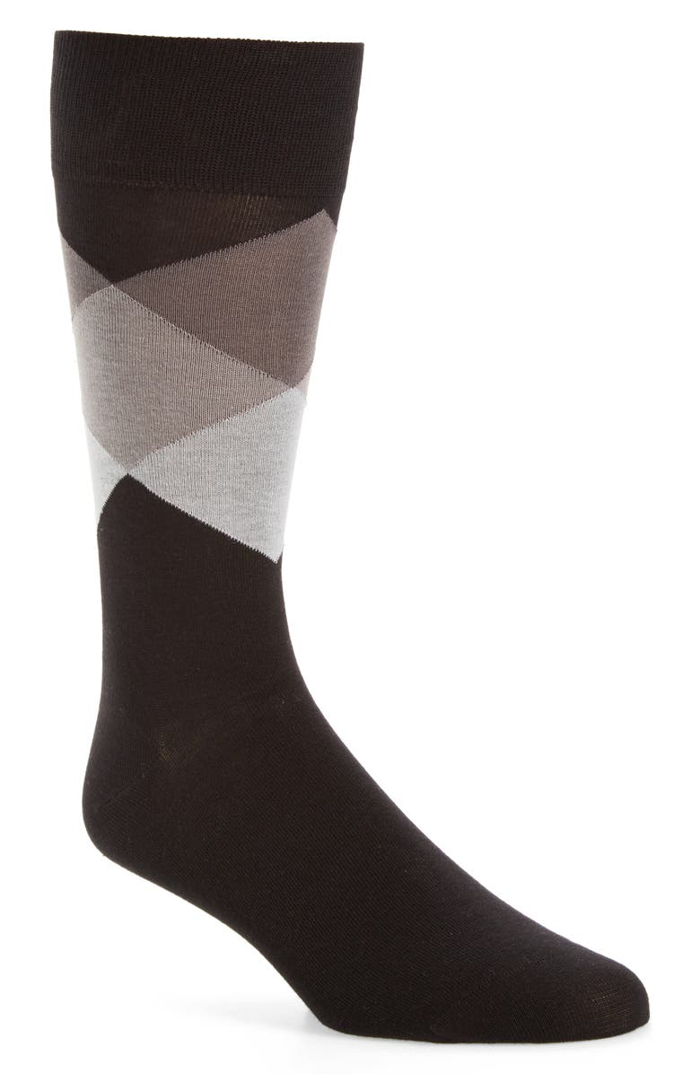 COLE HAAN Large Diamond Crew Socks, Main, color, BLACK