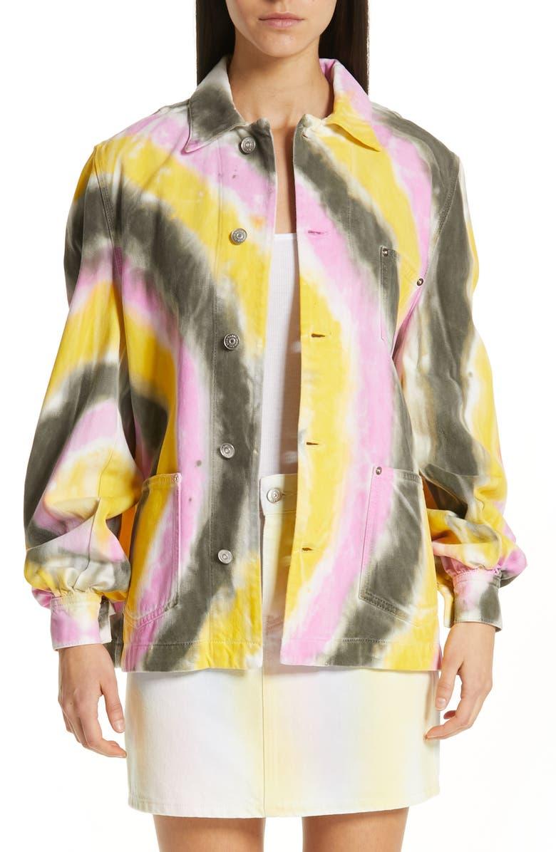 GANNI Tie Dye Oversize Denim Jacket, Main, color, 700