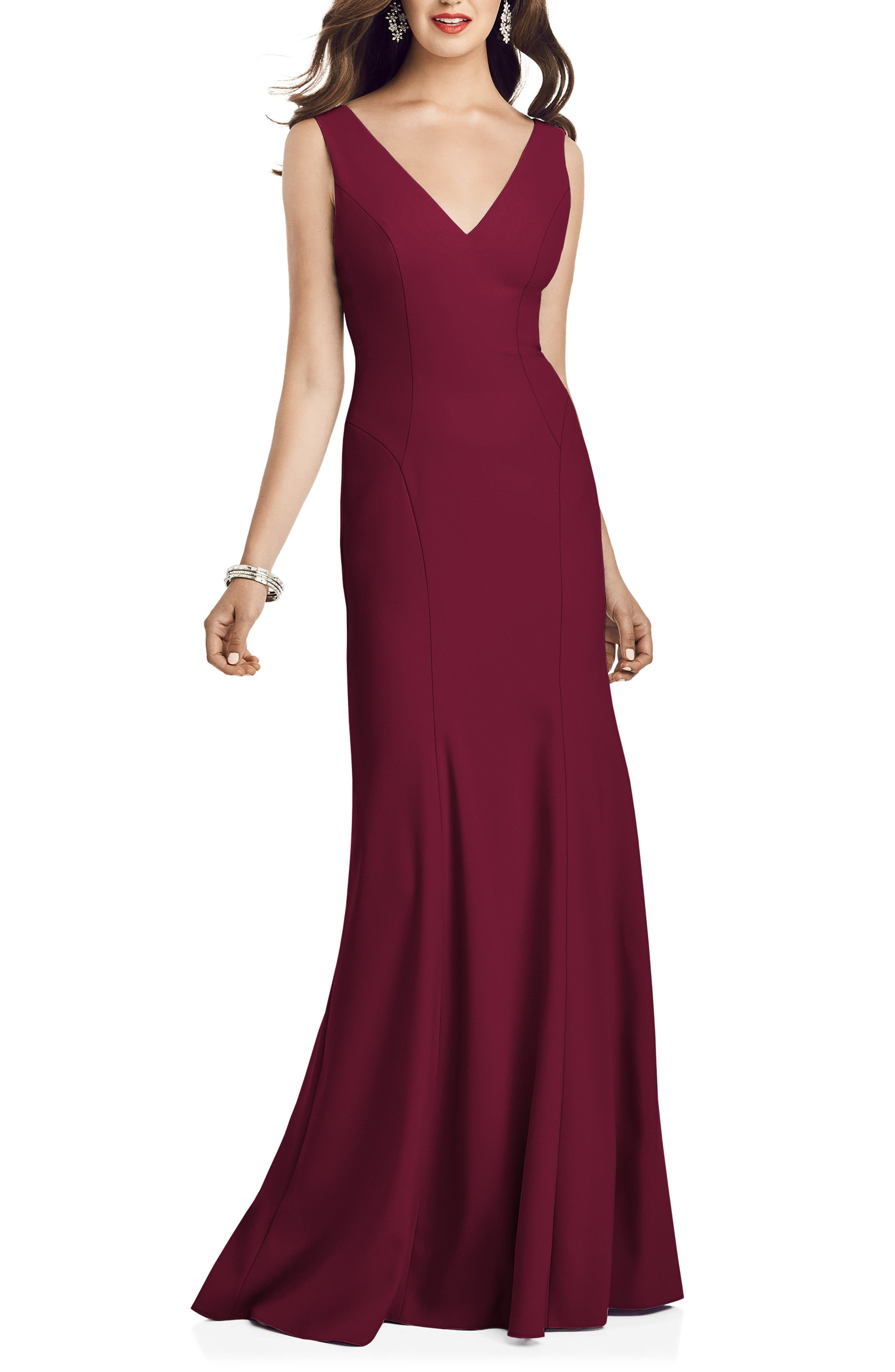 Amazing shape and a pleat-flared hem trumpet your entrance in this crepe gown that will not disappoint with an open back with crisscrossed panels. Style Name: Dessy Collection Crepe Trumpet Gown. Style Number: 6003845. Available in stores.