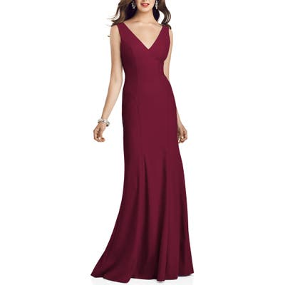 Dessy Collection Crepe Trumpet Gown, 8 (similar to 1) - Burgundy