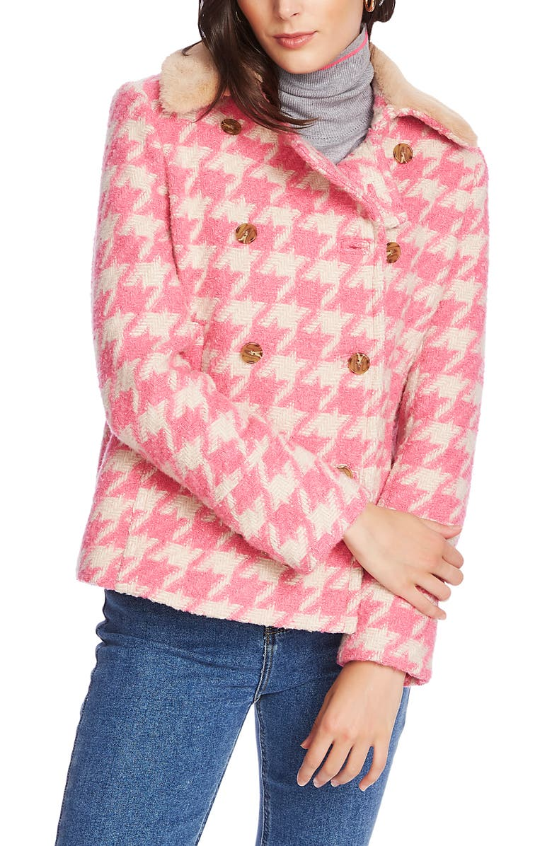 COURT & ROWE Houndstooth Peacoat, Main, color, CHALET PINK