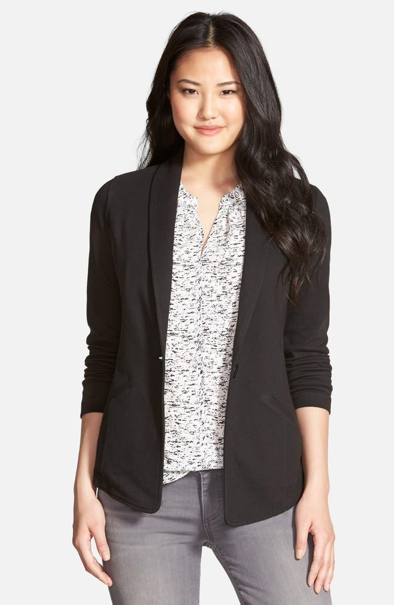 CASLON<SUP>®</SUP> Shawl Collar Knit Blazer, Main, color, 001