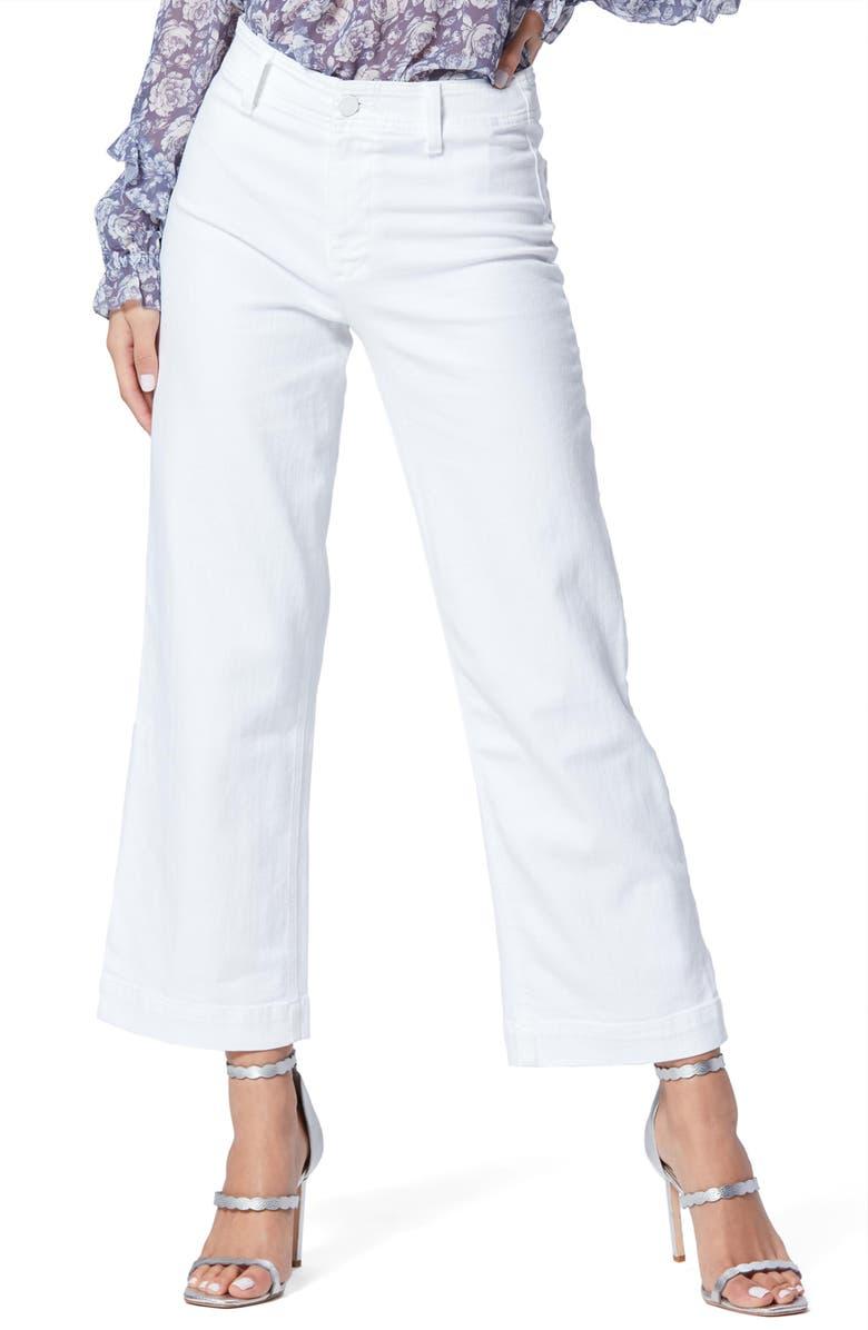 PAIGE Nellie Clean Front Culotte Jeans, Main, color, CRISP WHITE