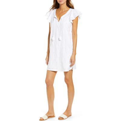 Vineyard Vines Palm Embroidered Tunic Dress, White