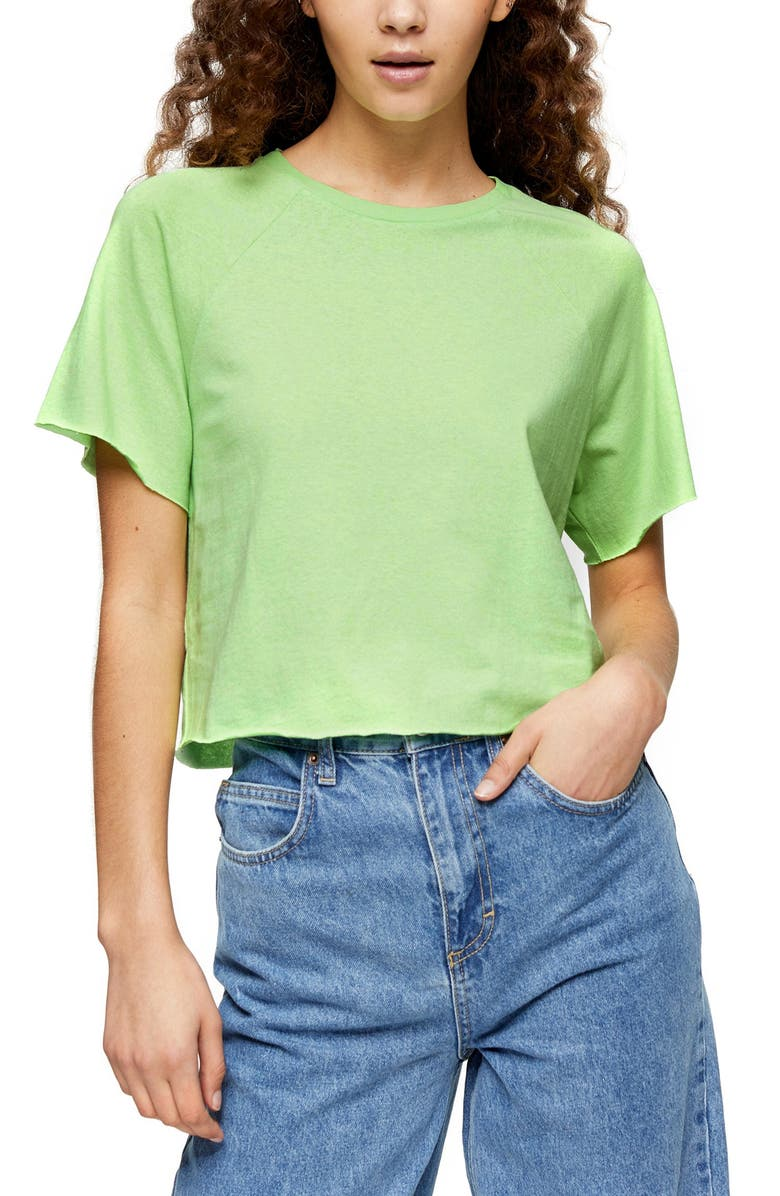 TOPSHOP Raglan Crop T-Shirt, Main, color, BRIGHT GREEN