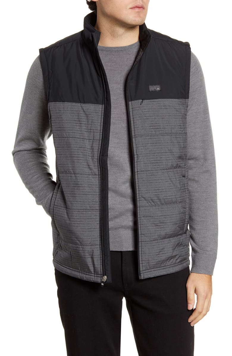 TRAVISMATHEW Crawford Colorblock Quilted Vest, Main, color, BLACK