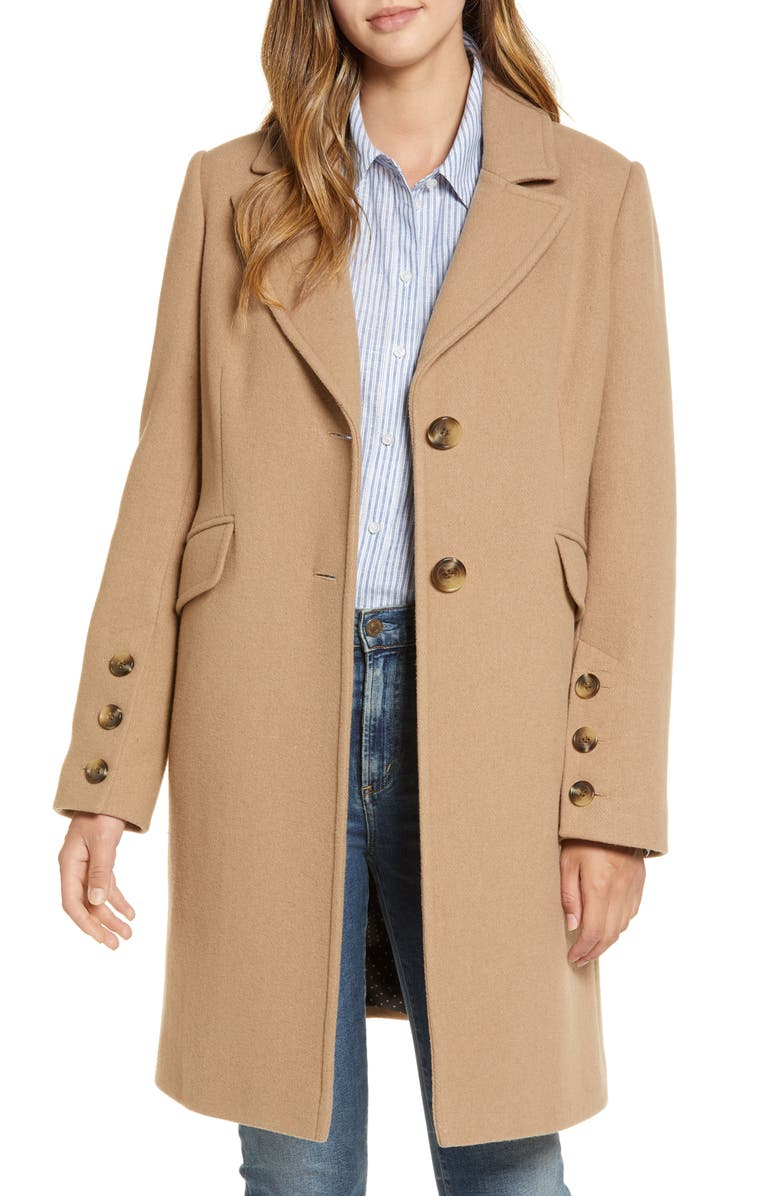 SAM EDELMAN Notched Collar Wool Blend Coat, Main, color, CAMEL