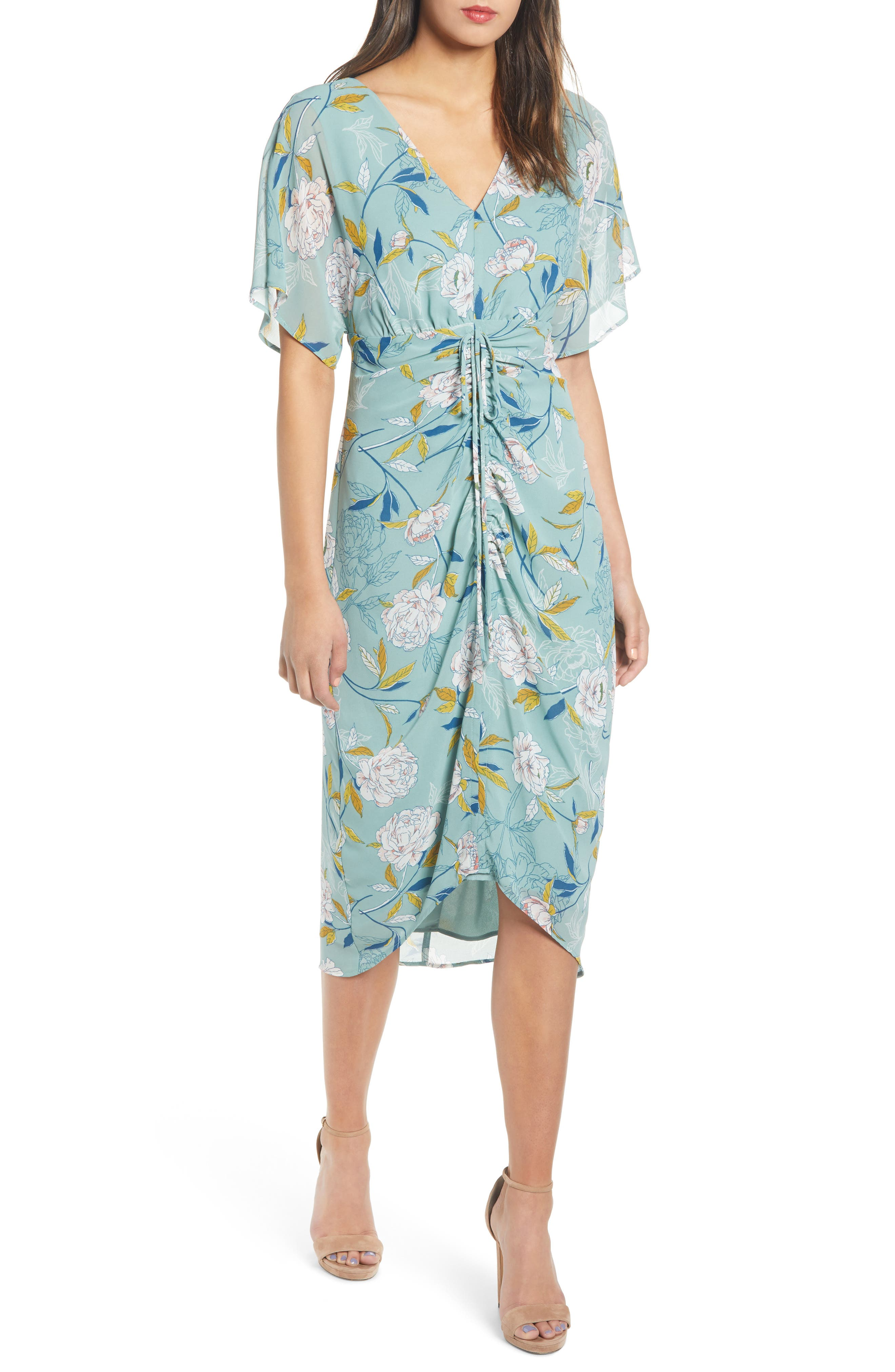 Leith Floral Ruched Midi Dress, Blue/green
