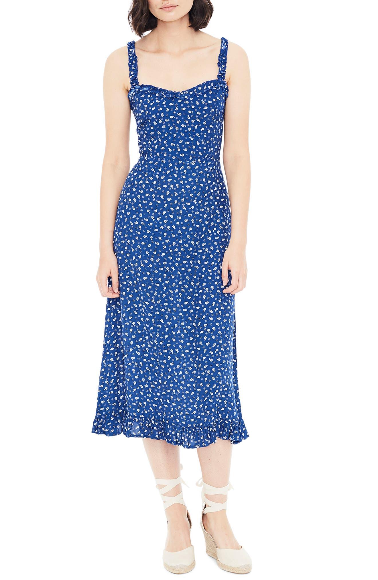 Faithfull The Brand Noemie Blue Floral Sundress, Blue