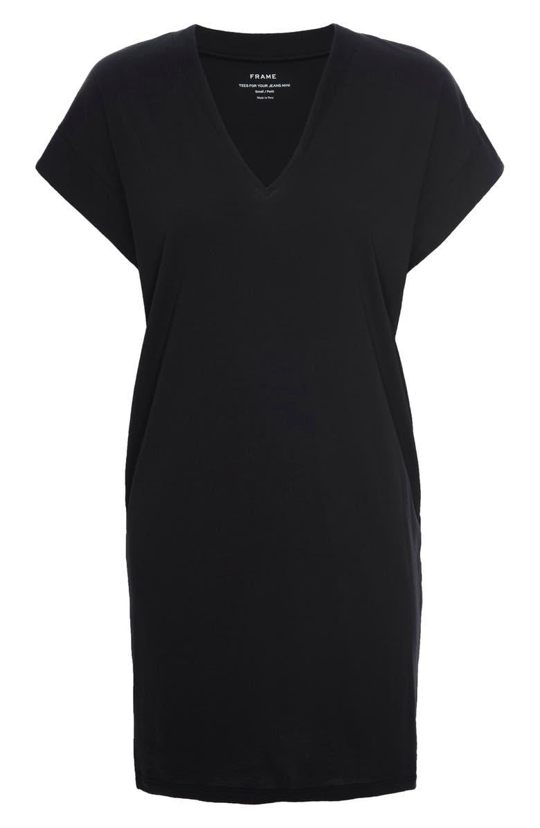 FRAME Le V-Neck T-Shirt Dress, Main, color, 001