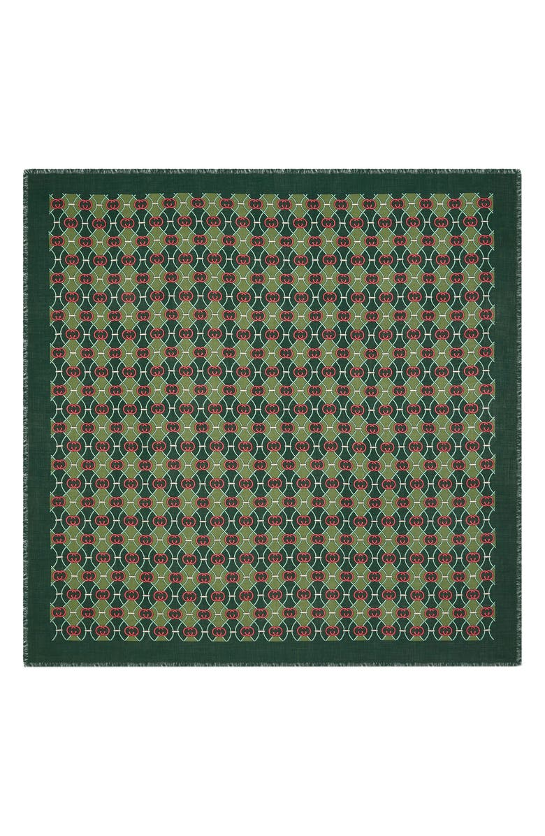 Gucci Interlocking G Print Wool Silk Scarf