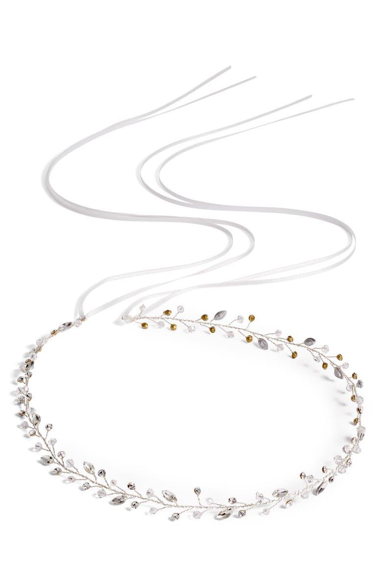 BRIDES & HAIRPINS Lucina Crystal Halo & Sash, Main, color, 040