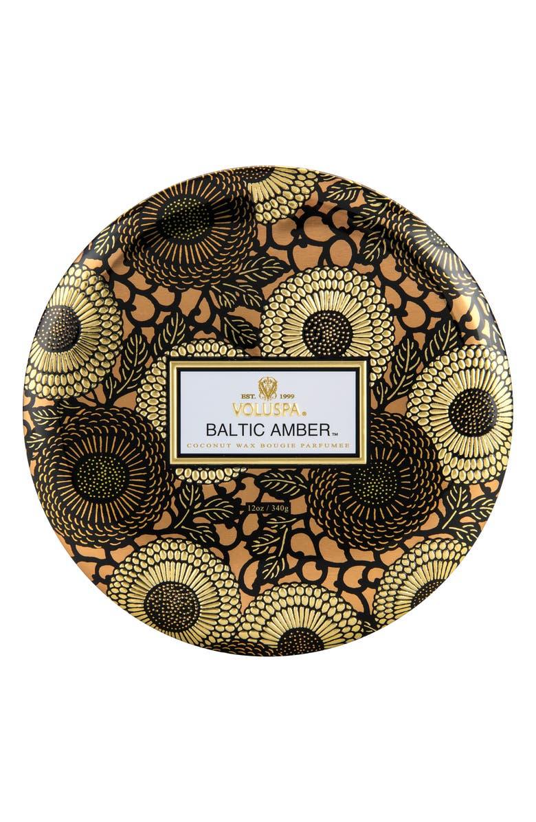 VOLUSPA Japonica Baltic Amber Three-Wick Decorative Tin Candle, Main, color, NO COLOR