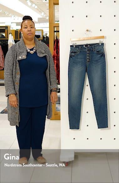Donna High Waist Frayed Hem Ankle Skinny Jeans, sales video thumbnail