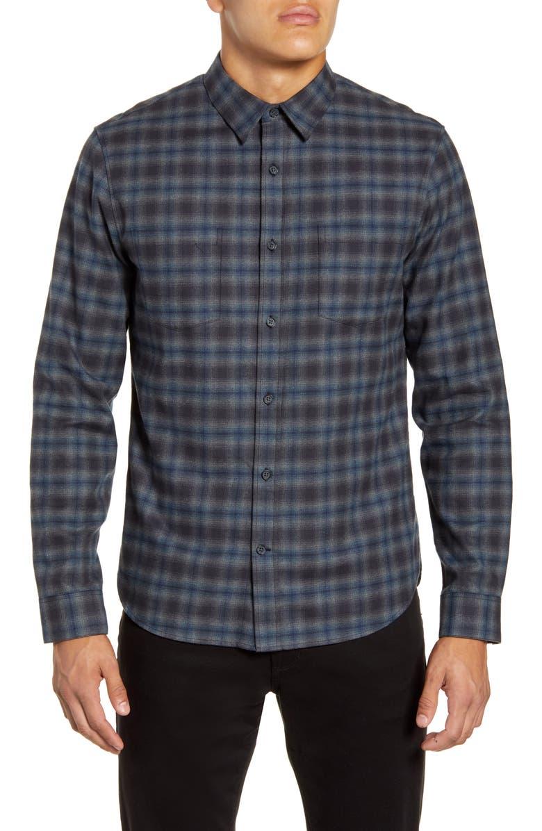 VINCE Classic Fit Shadow Plaid Button-Up Flannel Shirt, Main, color, COASTAL
