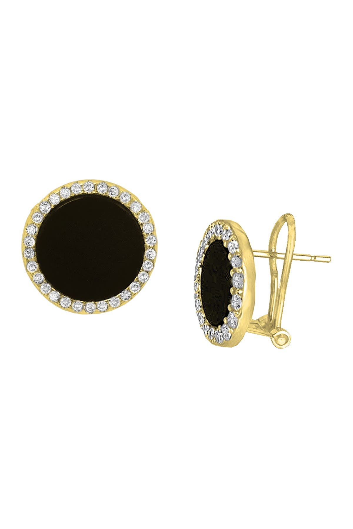 Image of Savvy Cie 18K Gold Vermeil Black Onyx Halo Omega Back Earrings