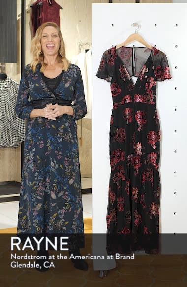 Cape Sleeve Velvet Burnout Maxi Dress, sales video thumbnail