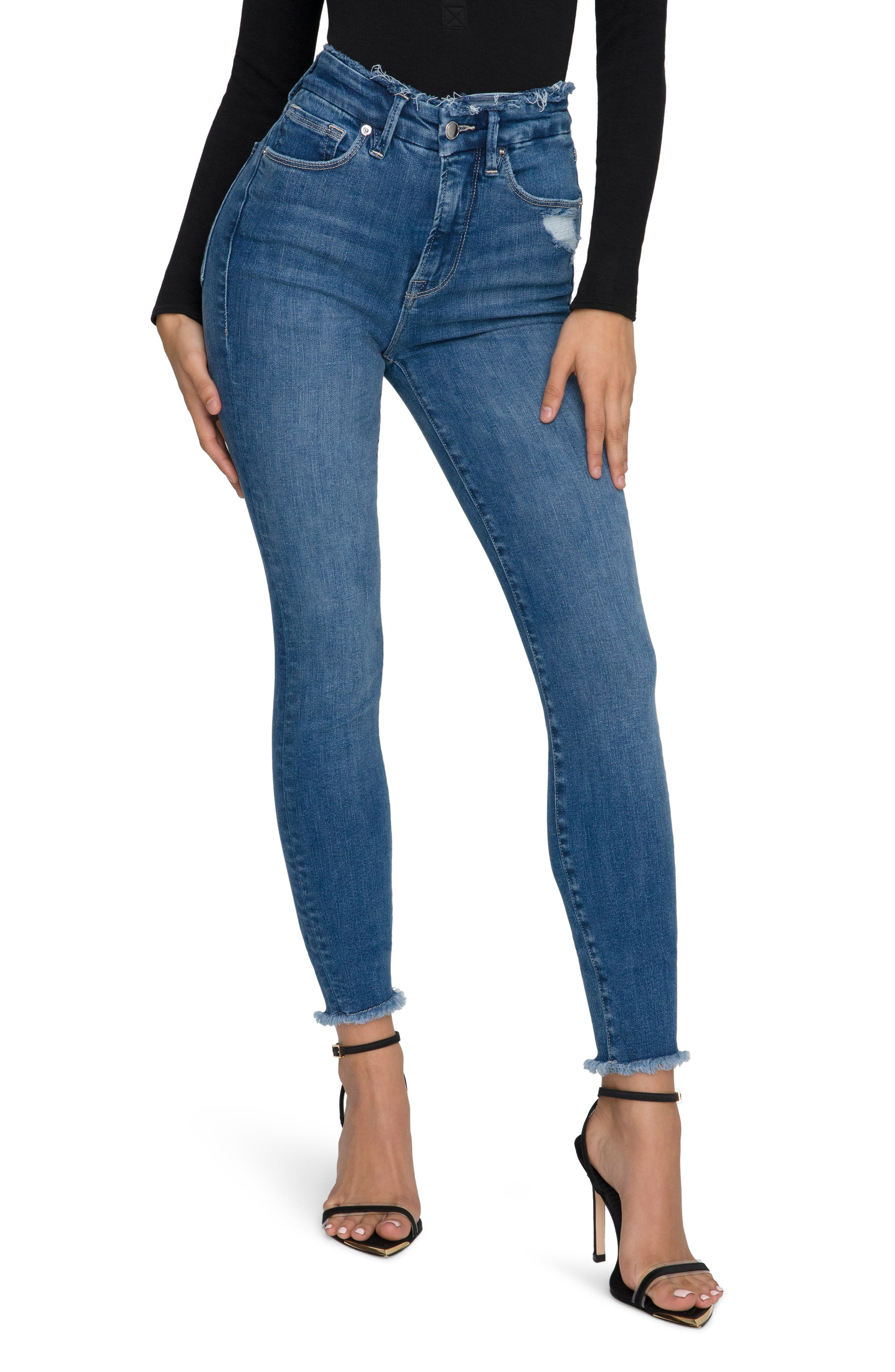 Women's Good American Good Waist Raw Edge Ankle Skinny Jeans
