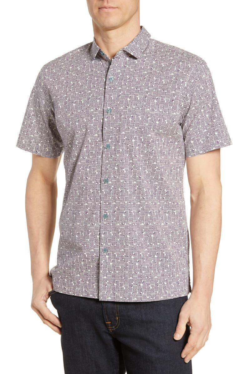 TORI RICHARD Kounozu Short Sleeve Button-Up Sport Shirt, Main, color, 400