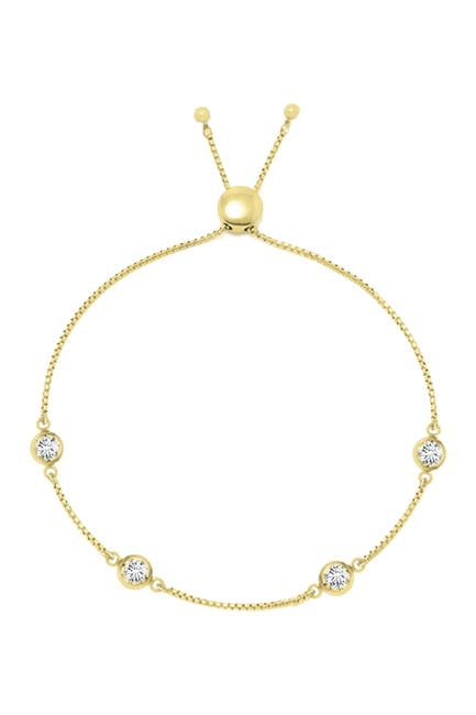 Image of Savvy Cie 18K Gold Vermeil Simulated Diamonds by the Yard Bolo Adjustable Bracelet