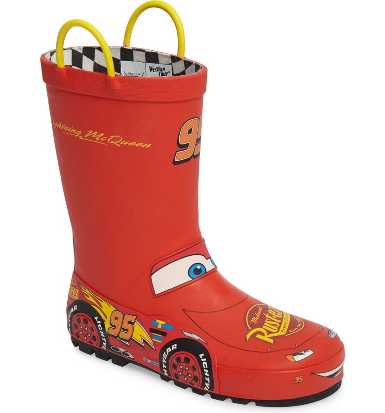 WESTERN CHIEF Lightning McQueen Waterproof Rain Boot, Main, color, RED