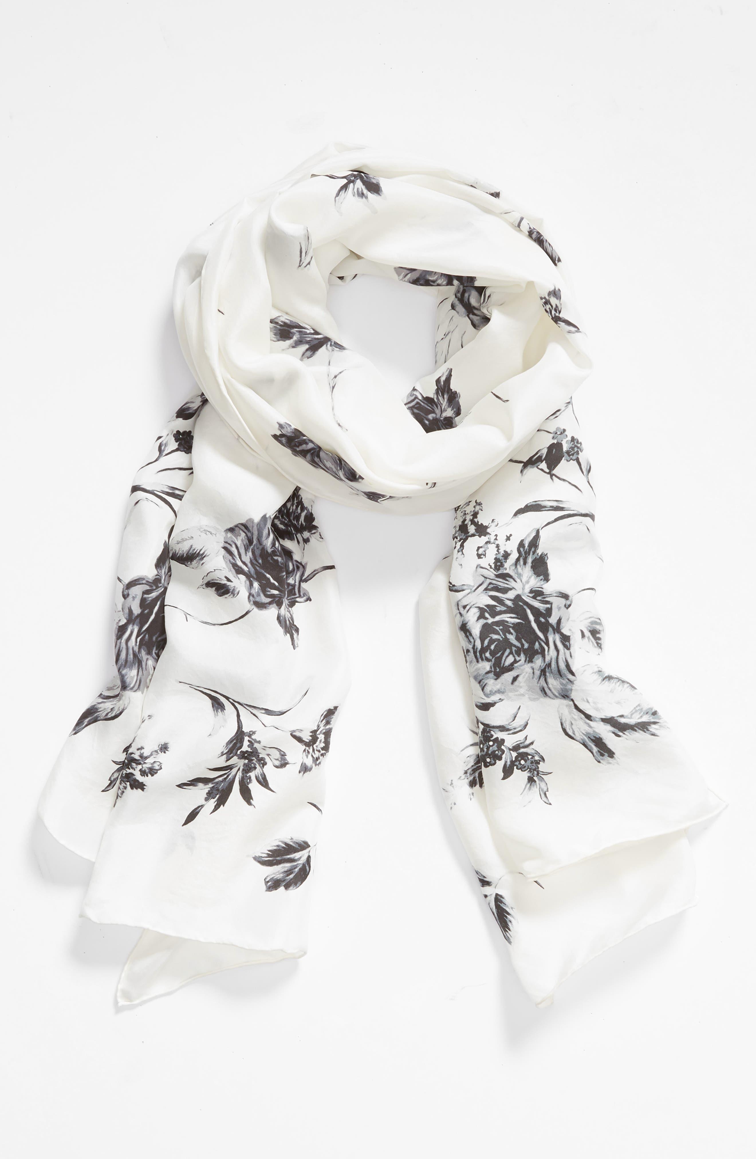 ,                             Floral Silk Wrap,                             Alternate thumbnail 6, color,                             900