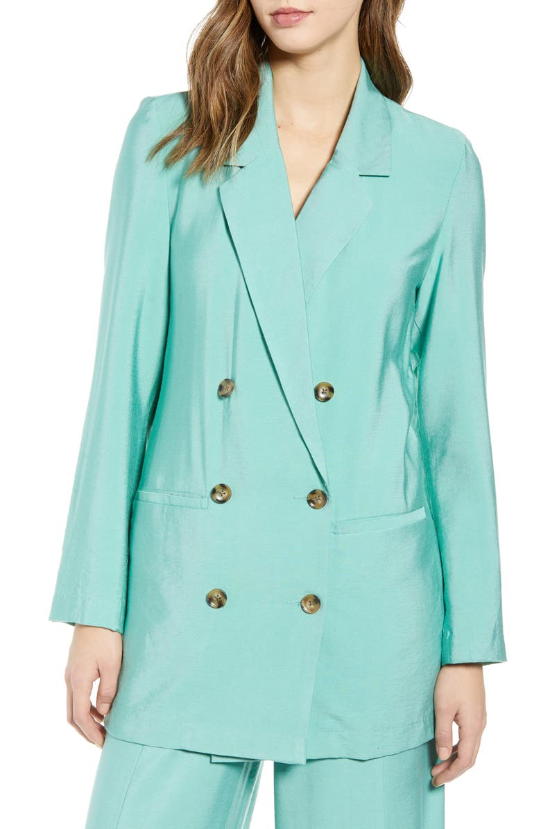 VERO MODA Long Blazer, Main, color, WASABI