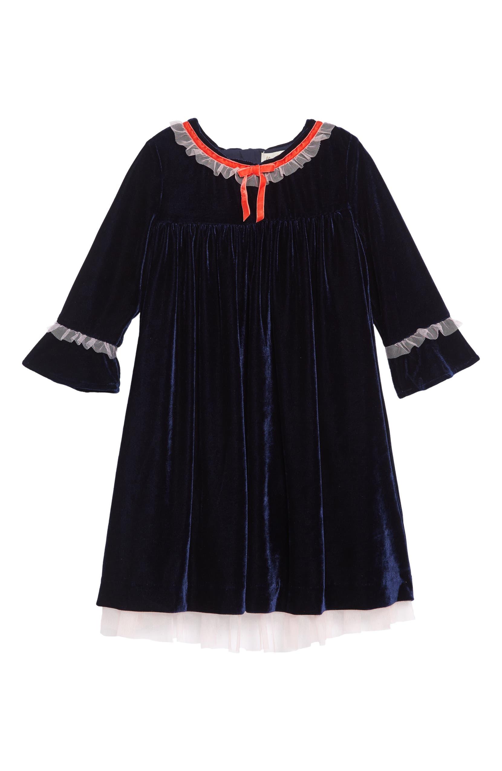 1238f2c4e Mini Boden Frill Trim Velvet Party Dress (Toddler Girls, Little Girls & Big  Girls)   Nordstrom