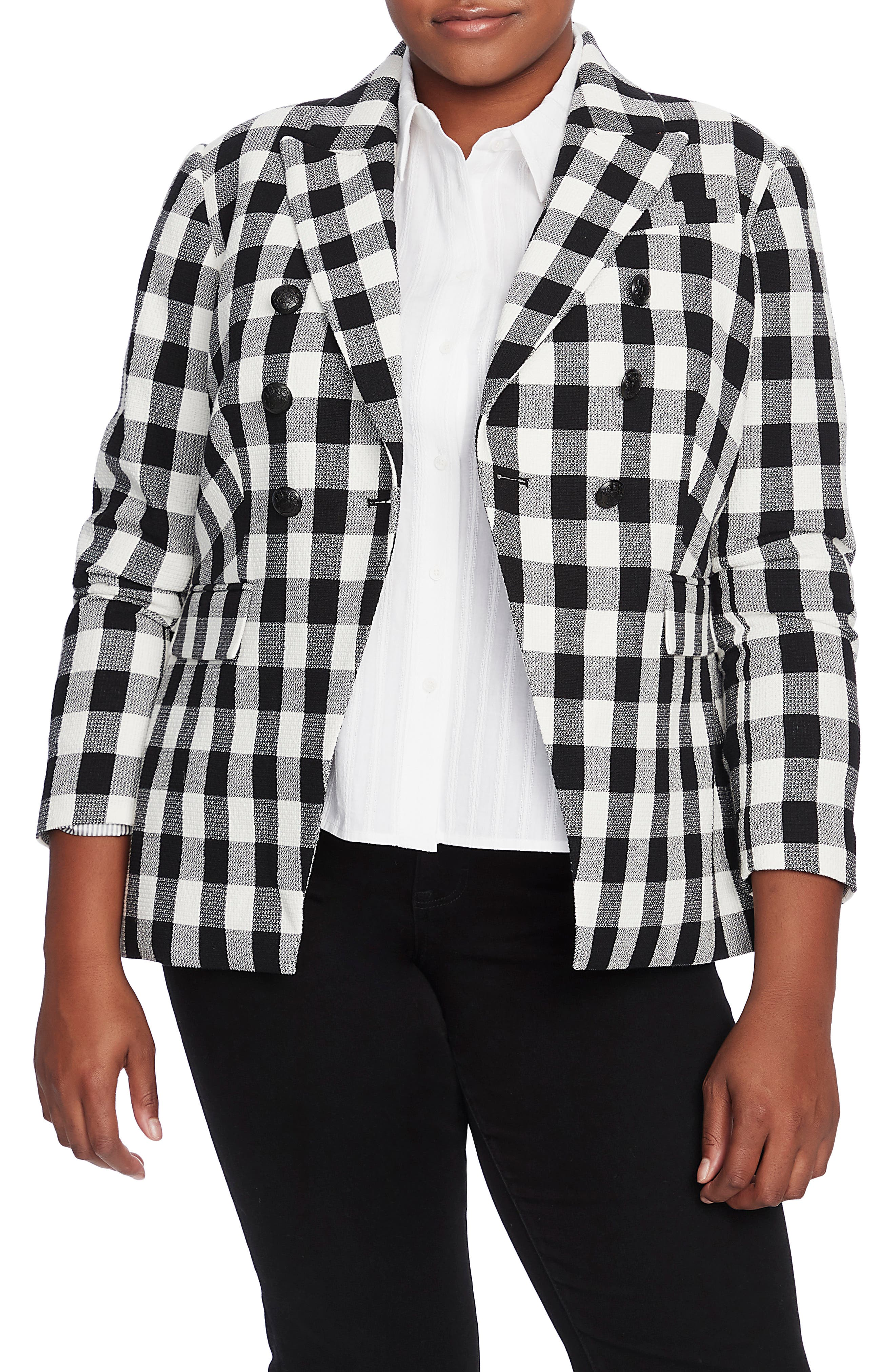 Image of COURT AND ROWE texture gingham dbl breasted b