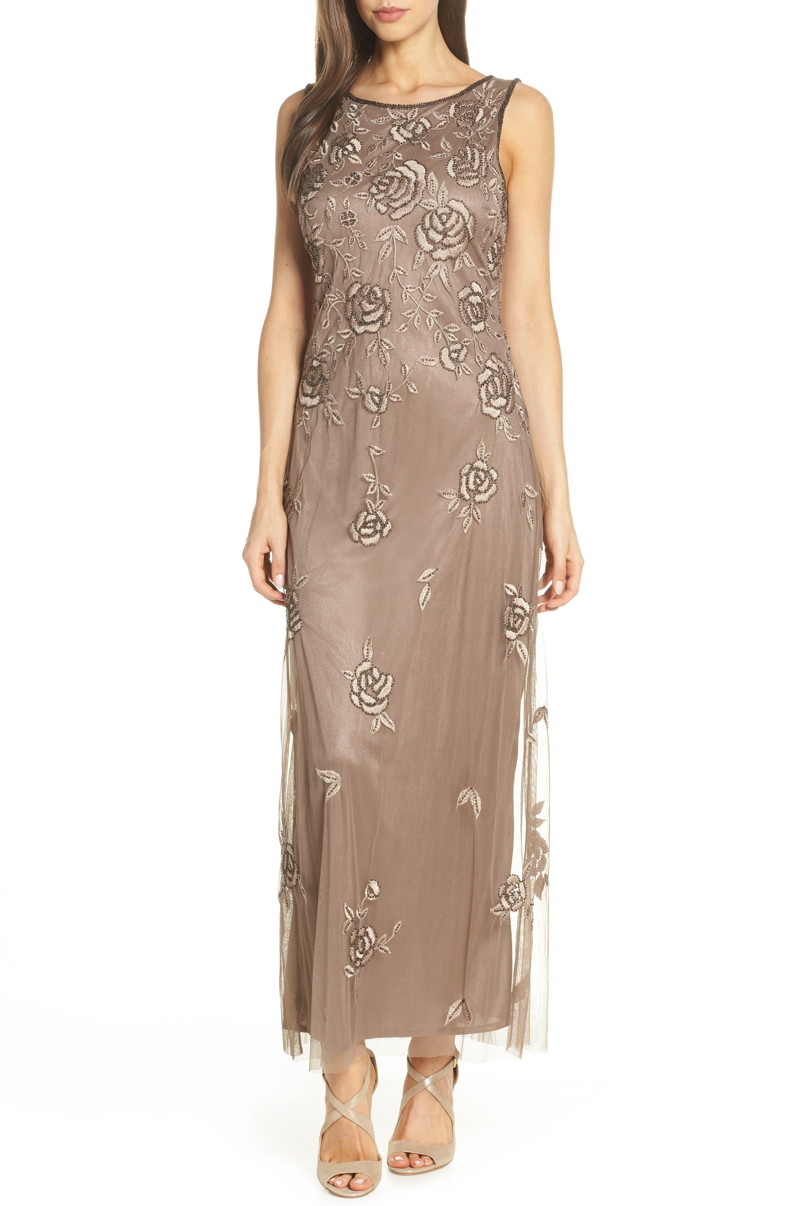 Petite Pisarro Nights Rose Embroidered Long Dress, Beige