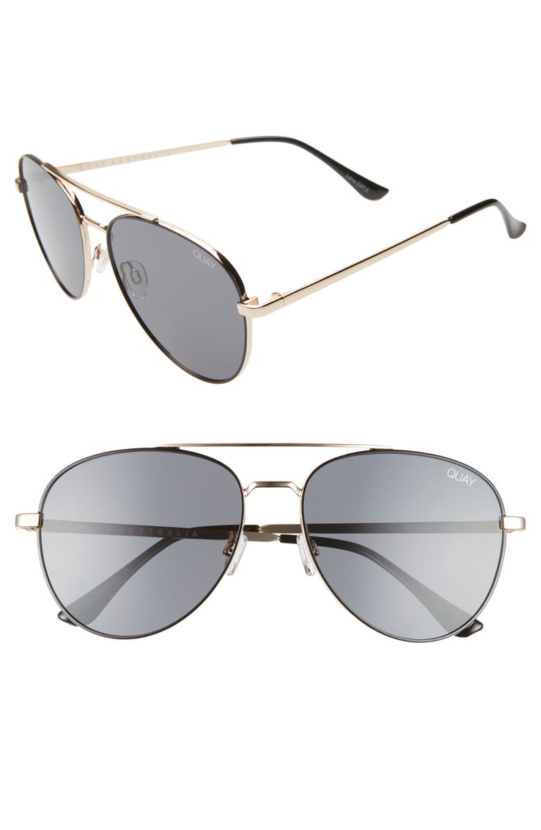 QUAY AUSTRALIA Single 50mm Aviator Sunglasses, Main, color, GOLD/ SMOKE