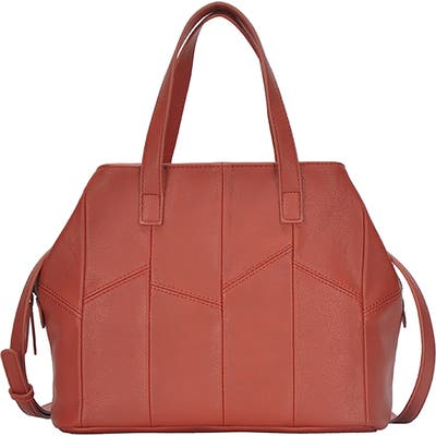 Antik Kraft Patchwork Faux Leather Satchel - Orange