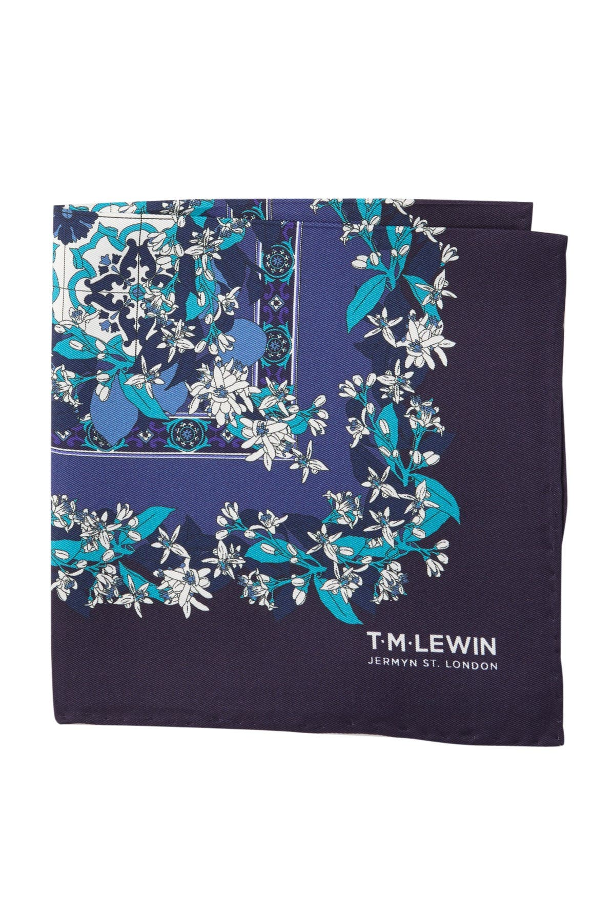 Image of TM LEWIN Silk Vintage Placement Print Pocket Square