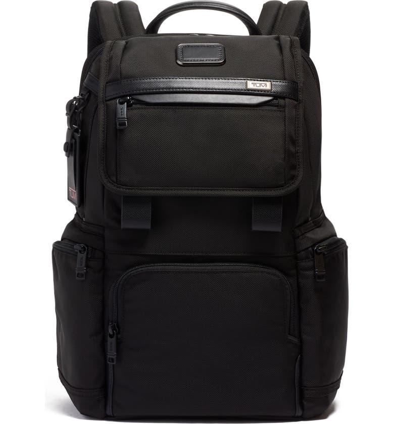TUMI Alpha 3 Flap Backpack, Main, color, BLACK