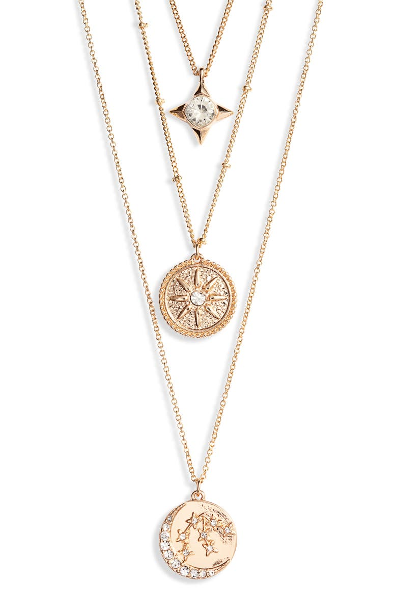 KNOTTY Astrological Charm Layered Necklace, Main, color, GOLD