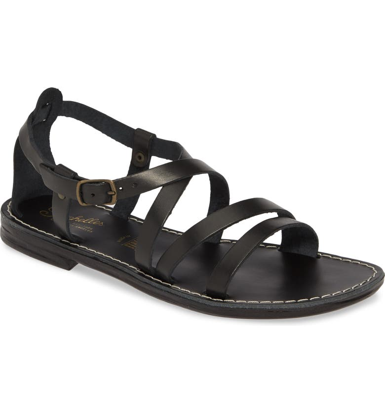 SEYCHELLES Upcycle Strappy Sandal, Main, color, BLACK LEATHER